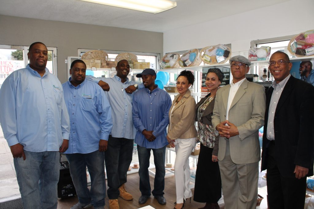 Left to Right: Emancipator's Initiative Program Participants Damian Bradley, Barron Bradley, Perrie Anderson, Abdul Bey, with Noha Aboelata, MD, CEO, Jessica Travenia, Aquil Naji, COO & Larry Hill.