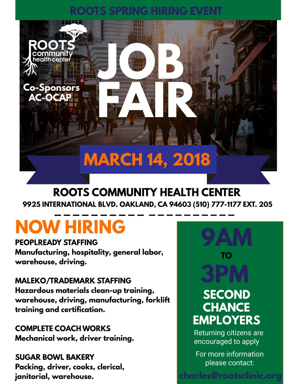 Roots Spring Job Fair 2018 Roots Clinic